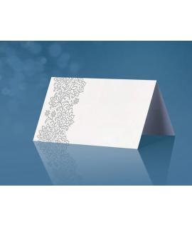 25 x Marque place papier avec dessins fleurs grise (4,5 cm x 10 cm)