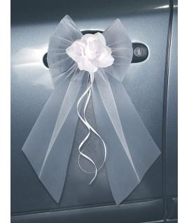 2 x Ruban en satin avec rose et noeud blanc pour portière de voiture