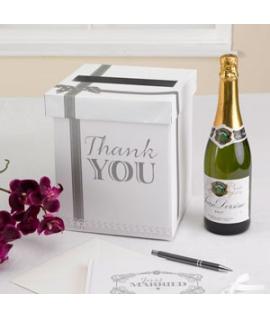 "Urne ""Thank You"" blanche et argentée"
