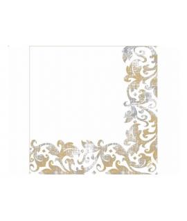 50 x Serviette blanche avec arabesques or (40 cm x 40 cm)