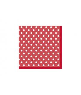 20 x Serviette rouge à pois blanc (25 cm x 25 cm)
