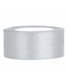 Ruban en satin argent large (25 mm x 25 m)