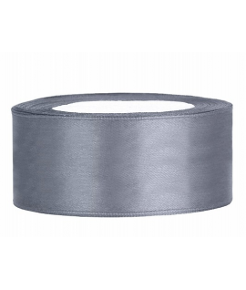 Ruban en satin gris large (25 mm x 25 m)