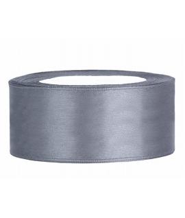 Ruban en satin gris large (25 mm x 25 m)