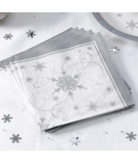 """20 x Serviette Noël """"Flocon de neige"""""""