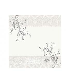 """20 x Serviette """"Motif floral Gris et Blanc"""" (33 cm)"""