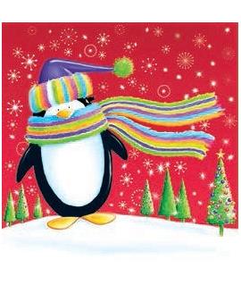 """20 x Serviette Noël """"Cerf et Pingouin multicolores"""" (33 cm)"""