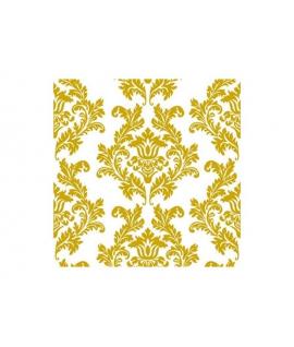 """20 x Serviette """"Baroque Or et Blanc"""" (33 cm)"""