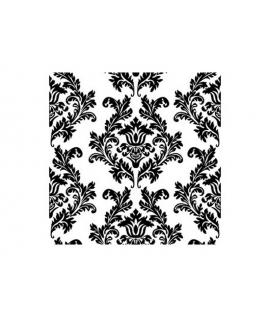 """20 x Serviette """"Baroque Noir et Blanc"""" (33 cm)"""
