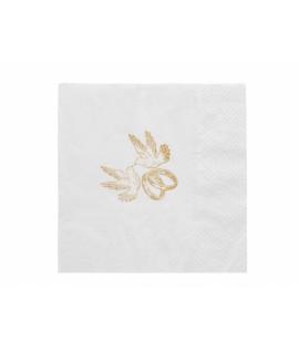 20 x Serviette blanche avec dessin colombes et alliances (33 cm)