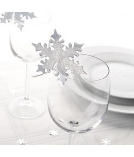 """10 x Nominette pour verre Noël """"Etoile Neige Grise"""""""