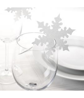 """10 x Nominette pour verre Noël """"Etoile Neige Blanche"""""""