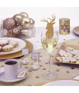 """10 x Nominette pour verre Noël """"Cerf doré"""""""
