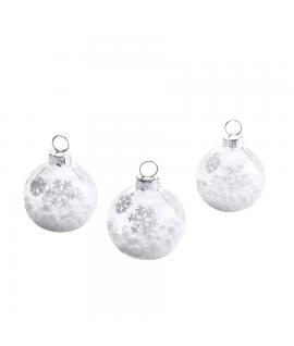 """6 x Marque place Noël """"Boule Transparente et Flocon Blanc"""""""
