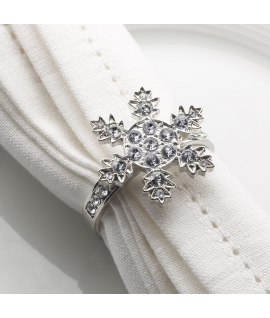 """4 x Rond de serviette Noël """"Etoile des neiges"""""""