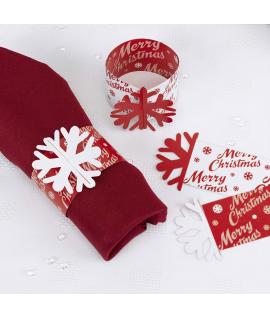 10 x Rond de serviette Noël papier rouge et blanc