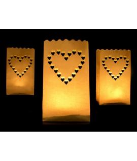 10 x lanternes pour sol avec dessin de coeur (15 x 9 x 26 cm)