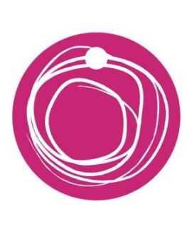 25 x Nominette fuchsia ronde en carton avec cercles blanc (3 cm de diamètre)
