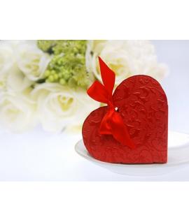 """10 x Boite à dragées """"Boite en forme de coeur"""" Rouge"""