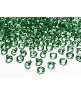 100 x Confettis de diamant en plastique vert (12 mm)