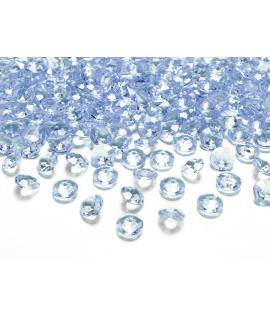 100 x Confettis de diamant en plastique bleu (12 mm)