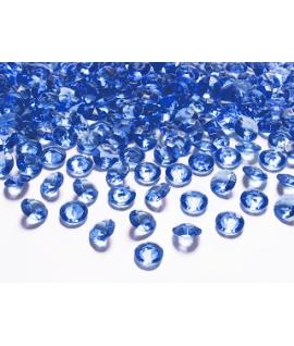 100 x Confettis de diamant en plastique bleu marine (12 mm)