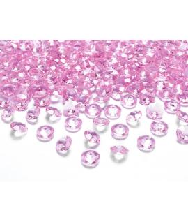 100 x Confettis de diamant en plastique rose clair (12 mm)