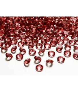 100 x Confettis de diamant en plastique bordeaux (12 mm)