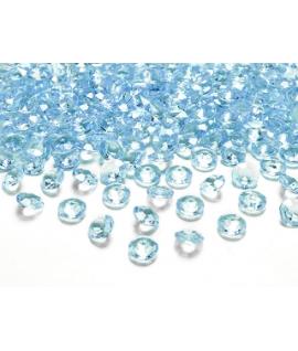 100 x Confettis de diamant en plastique turquoise (12 mm)