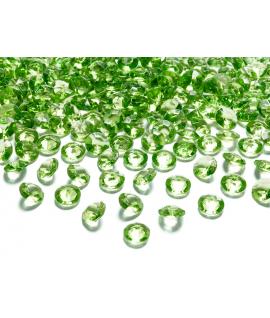 100 x Confettis de diamant en plastique vert clair (12 mm)