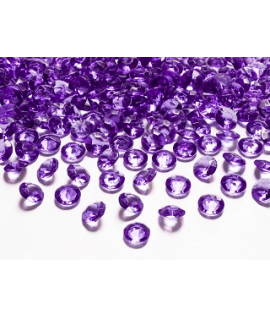 100 x Confettis de diamant en plastique prune (12 mm)