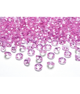 100 x Confettis de diamant en plastique rose (12 mm)