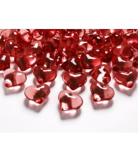 30 x Coeur en plastique translucide rouge