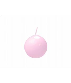 Bougie sphérique laquée couleur rose clair (diamètre 45mm)