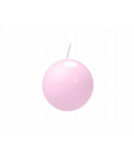 Bougie sphérique laquée couleur rose clair (diamètre 60mm)