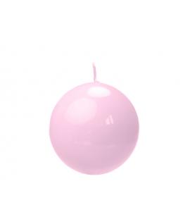 Bougie sphérique laquée couleur rose clair (diamètre 80mm)