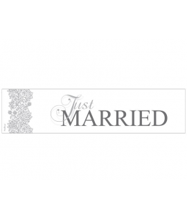 "Plaque d'immatriculation ""Just married"" grise avec dessin arabesque"