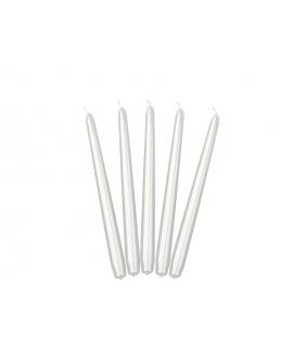 Bougie chandelle métallique, couleur perle (24cm)