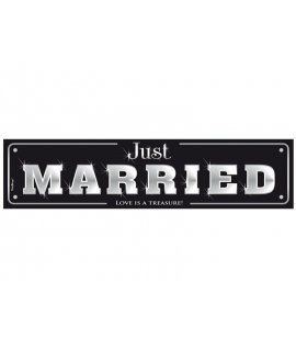 "Plaque d'immatriculation ""Just married"" noir et argent"