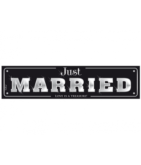 plaque d 39 immatriculation just married noir et argent. Black Bedroom Furniture Sets. Home Design Ideas