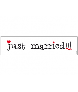 "Plaque d'immatriculation ""Just married"" funny typo noir et rouge"