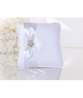 Coussin d'alliance avec perles et ruban en blanc