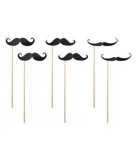 6 x Moustaches noires sur tige