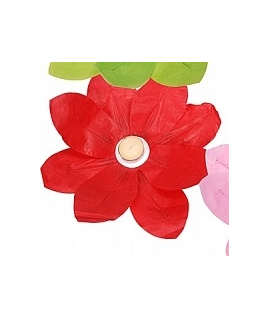 Lampion fleur rouge à déposer sur l'eau (29 x 29 cm)