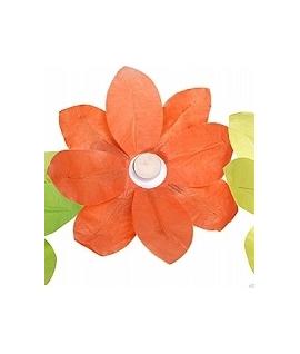 Lampion fleur orange à déposer sur l'eau (29 x 29 cm)