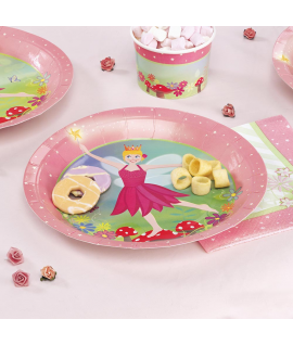 "8 x assiette ""fleurs princesse"" rose vert"