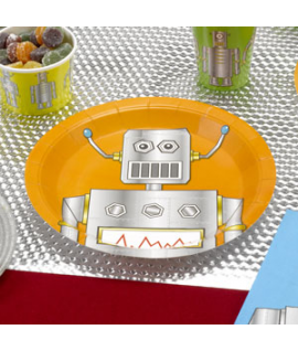 "8 x assiette ""robot"" orange"