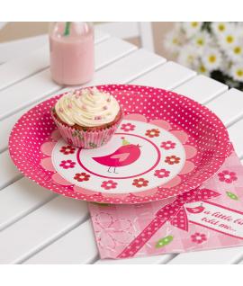 "8 x assiette ""fleurs oiseau"" rose"