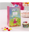 "5 x sachet ""fleurs princesse"" rose vert"