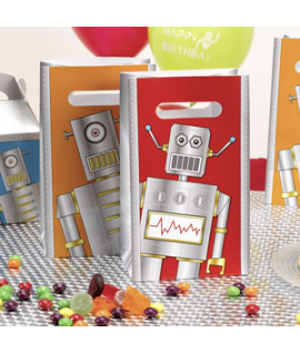 "5 x sachet ""robot"" rouge orange gris"